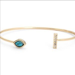 Jules Smith Pave Turquoise and Gold Bracelet Cuff